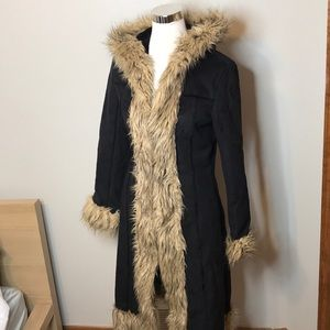 Bebe vintage faux suede leather fur trim coat